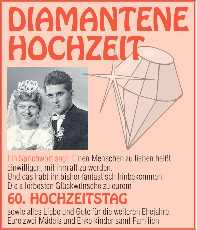 Diamantene hochzeit für glückwünsche Diamantene Hochzeit: